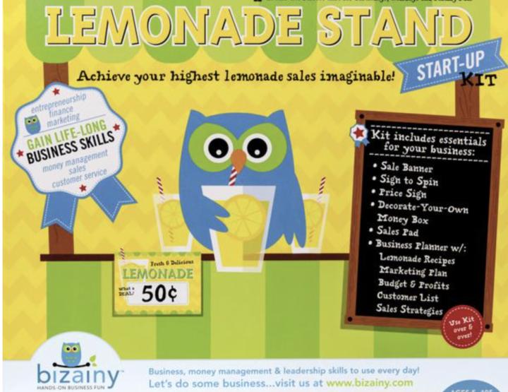 Lemonade Stand Start-Up Activity Kit from Bizainy Encourages Early Entrepreneurship