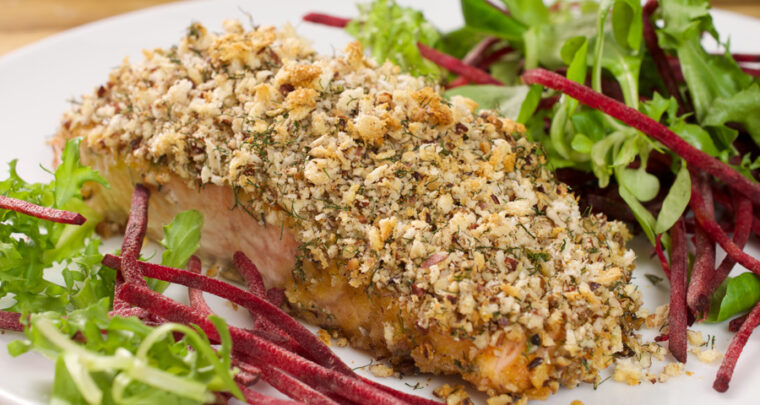 Baked Salmon with Pecan Crunch Coating Recipe From Singer Meredith LeVande